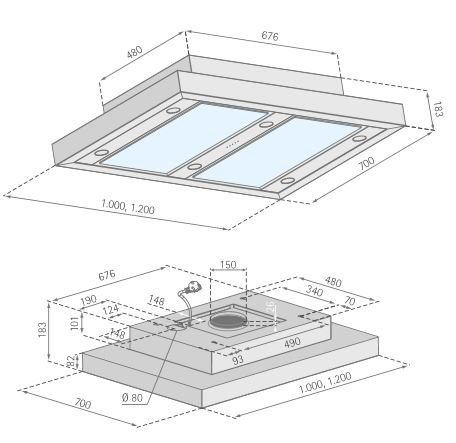 silverline ald 104 1 e altena deckenhaube dunstabzugshaube inselhaube 100 cm c. Black Bedroom Furniture Sets. Home Design Ideas