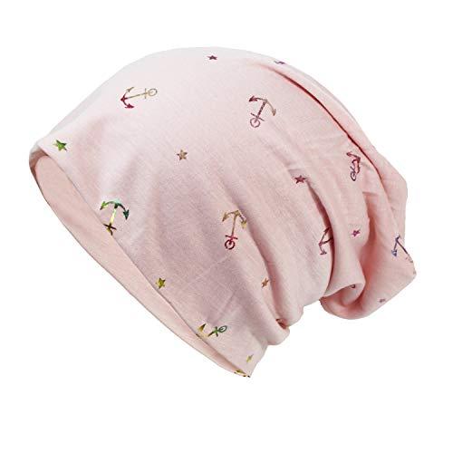 Glamexx24 Neue Kollektion Long Beanie Mütze Mit Anker Muster bequem zu tragen, Rosa Rb, Einheitsgröße