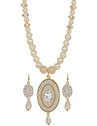 Maayra Pearl Necklace Set White Indian Ethnic Wedding Necklace Set
