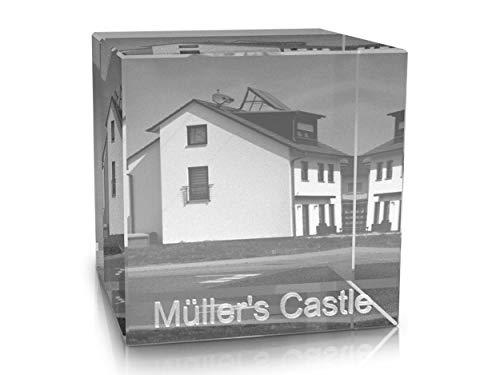 VIP-LASER 2D Gravur Glas Kristall Würfel mit Deinem Foto von Deinem Haus. Dein Wunschfoto für die Ewigkeit Mitten in Glas! Groesse XXL = 80x80x80mm