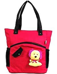 Angel's Women Canvas Pink And Black Hand Bag Or Shoulder Bag