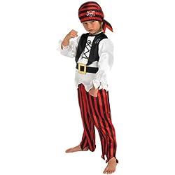 Disfraz de valiente pirata para niño, S (4 años)