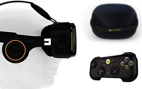 VR-SHARK® X4 Bundle - Virtual Reality Kit mit Touchbutton & Bluetooth Gamepad & Hardcase   VR-Brille für 4,7 - 6,2 Smartphone 's   Komp. mit iPhone 7 Plus / NEXUS / SAMSUNG / LUMIA / LG / MOTO / HTC / HUAWEI / SONY   [FOV 120°   PD + FD   BT Controller   schwarz   Android & iOS]
