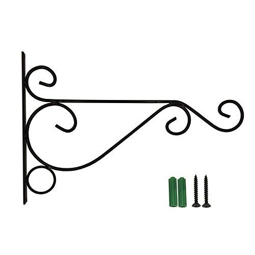 Yunhigh Garten hängende Korbklammern Eisen außen Metall Wandhalter Halter Haken für Blumentöpfe Laterne Pflanze Aufhänger Innendekoration - schwarz (Metall-laterne Hängende)