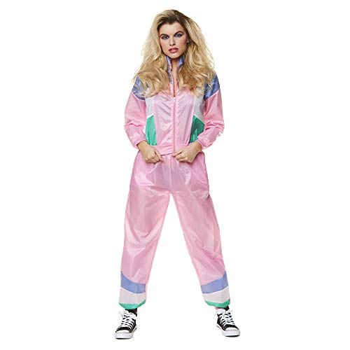 Ladies Pink Shell Suit Costume for 80s Fitness Look, X-small