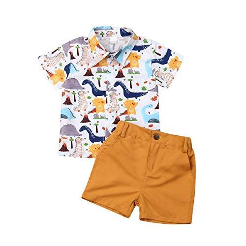 2 Pcs Kleinkind Baby Boy Gentleman Suit Dinosaurier Fliege T-Shirt Shorts Hosen Outfit Set für 1-6 Jahre alt (Baby-jungen 1 Jahr-outfit)
