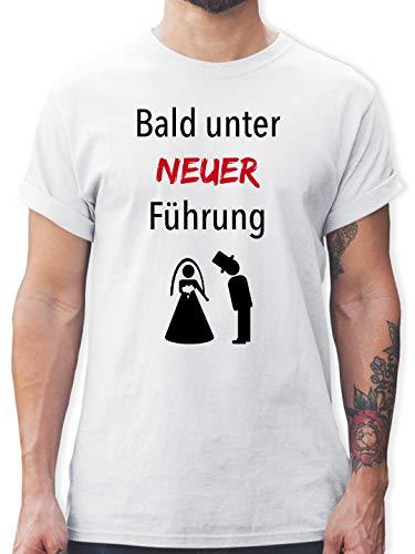 JGA Junggesellenabschied - Bald unter Neuer Führung - L - Weiß - L190 - Herren T-Shirt und Männer Tshirt (Lustige Ehepaar Kostüm)