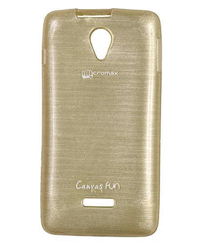iCandy Soft TPU Shiny Back Cover For Micromax Canvas Fun A76 - Golden  available at amazon for Rs.99
