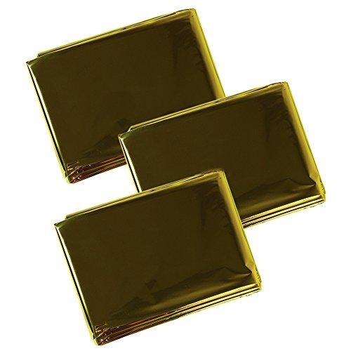 COM-FOUR Rettungsdecke Set 160 x 210 cm Gold- und Silberseite (Wärme- und Kälteschutz) - Besonders bewährt bei Verkehrs-, Ski- und Bergunfällen (3 Stück)