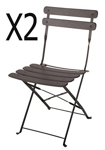 PEGANE Lot de 2 chaises de Jardin en Acier époxy Coloris Taupe Mat - Dim : 42 X 46 X 80 cm