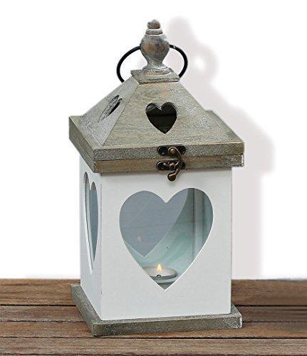 Laterne mit Herz Windlicht Holz Gartendeko Shabby Kerze Teelicht