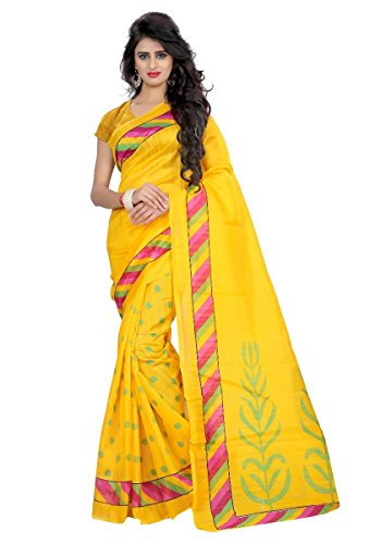 Yellow Color Bhagalpuri Art Silk Saree With Blouse Pices