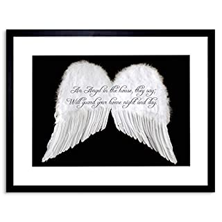 Wee Blue Coo Quote An Angel In The House Wings Motivation Framed Wall Art Print