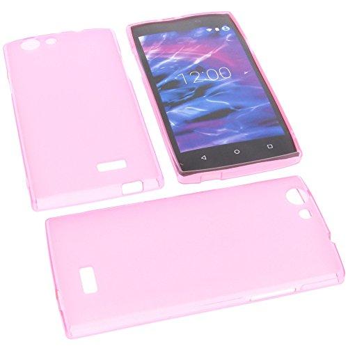foto-kontor Tasche für MEDION Life E5005 Gummi TPU Schutz Handytasche pink