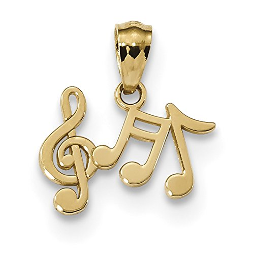14k Yellow Gold Gold Polished Music Note Pendant
