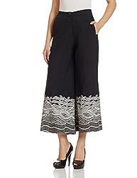 global desi Womens Flared Pallazo Pants (GJ24986-PLZ-406_Black_M)