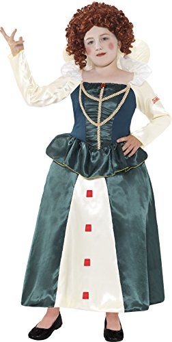 Horrible Histories Kollektion Elizabeth I Kostüm Grün mit Kleid, Medium