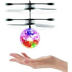 UTTORA Ballon Volant, Drone Infrarouge de Poche Infrarouge à Induction Mini Drone Hélicoptères Mini RC de Vol Jouets avec Clignotants à LED pour Enfants Adultes