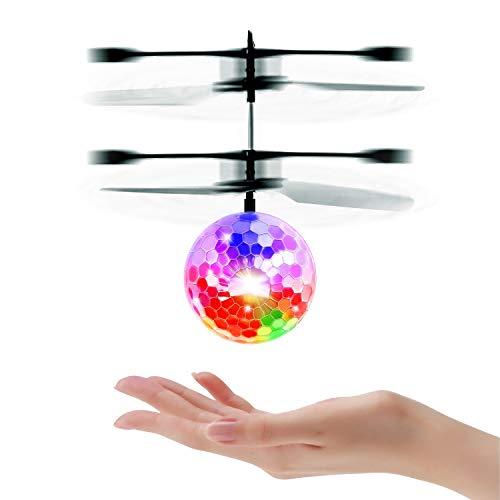 UTTORA Fliegender Ball, Flugzeug Spielzeug ,Infrarot-Induktions-Flugzeug, Drohne mit bunt leuchtendem LED-Licht, Indoor-und Outdoor -