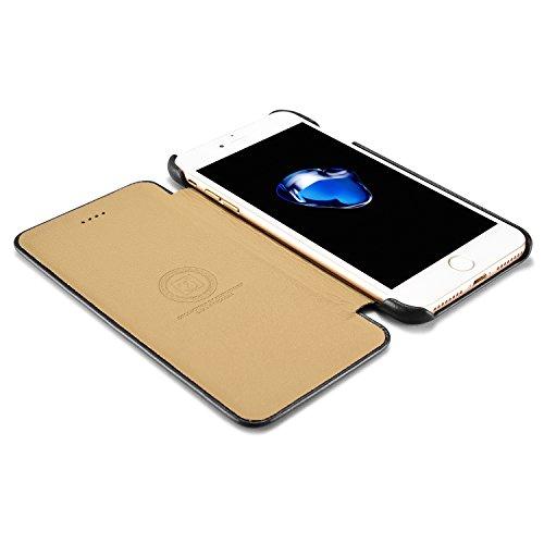 Coque iPhone 7, iPhone 8, ICARER Housse Flip Cuir Véritable Premium Protection Luxe Vintage Fermeture Magnétique Ultra Slim Souple Case Cover Etui Coque Pour iPhone 7, iPhone 8 - Rétro Noir Rétro Noir