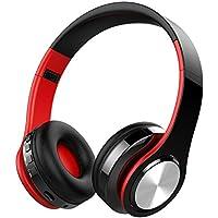 Auriculares Inalámbricos Bluetooth, OLTA Cascos Bluetooth Plegable con Micrófono, Manos Libres, Almohadillas de Protección Cómodo, MicroSD, para iPhone y Android Rojo