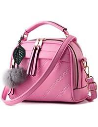 Pu Leather Women Leather Handbag Hairball Women Messenger Bags Pouch Shoulder Crossbody Bags - B079VLHX26
