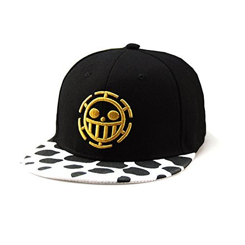 Anime One Piece Cosplay Canvas Snapback Cap Hip Hop Baseball Sports Hat (Black H)