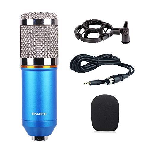 THINKMIC Aufnahme mit professionellem kapazitivem Mikrofon (herzförmiges Punkt, 20 Hz-20 kHz, 48 V Phantomspeisung) für Podcasts, Aufnahmen, Online-Chats, wie Facebook, Skye, YouTube - blau (Mount Guitar Mic)