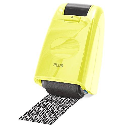PLUS Japan, Datenschutz Rollstempel Camouflage in Gelb, Textschwärzer, Identitätsschutz, 1er Pack (1 x 1 Rollstempel)