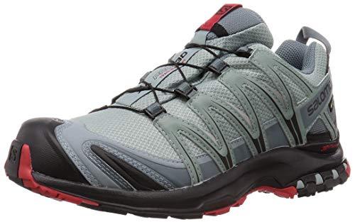 Salomon Herren Trailrunning-Schuhe, XA PRO 3D GTX, Farbe: Türkis/Rot (Lead/Black/Barbados Cherry), Größe: 44 2/3
