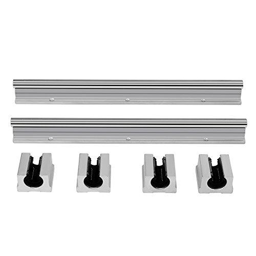 Linearschienenwelle, 300mm12mm SBR12UU Gleitwelle + 4-teiliger Gleitlagerblock -