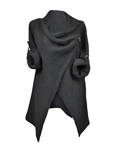 Maglie donna invernali maniche lunghe irregolare elegante maglieria sciolto puro colore pulsante maglione spacco cardigan maglia casuale giubbotto