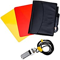 Sports Referee Card Set Red Card Yellow Card and Metal Referee Whistle Coach Whistle for Football Soccer