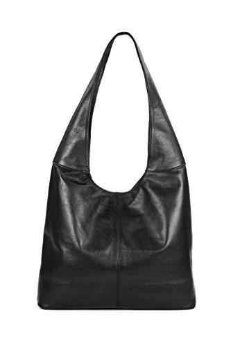 Belli ital. Leder Handtasche Schultertasche Modena Damen Ledertasche Umhängetasche - Farbauswahl - 37x30x13 (B x H x T) (Schwarz) -