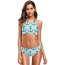 Women's Halter Bikini Set 2 Piece Ancient Egyptian Woman Swimsuit Beach Suit L