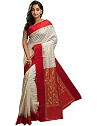 Avik Creations Women's Off-White, Red Border Tassar Art Silk Kanjivaram Handloom Saree With Blouse Piece New Collection