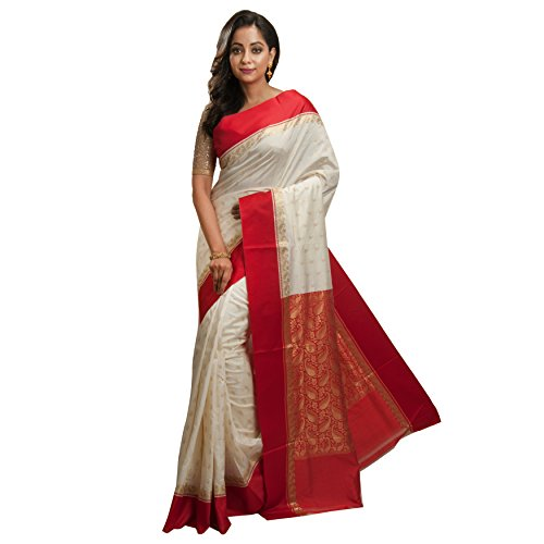 Avik Creations Embroidered Traditional Solid Woven Kanjivaram Art Silk Saree Red Off-White
