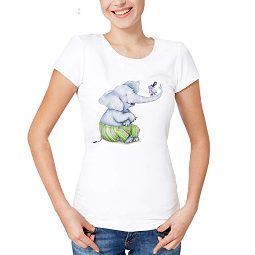 ZCYTIM Nuevo Harajuku Lindo Bebé Elefante Camiseta Mujer Animal Camisetas Divertidas Delgadas Camisetas Blancas Mujeres Casual Kawaii Tops