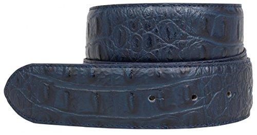 Wechselgürtel mit Krokoprägung ohne Schließe 4,0 cm Kroko-Prägung Hochwertig Krokodil-Muster Reptil-Prägung Wechselledergürtel, Bundweite 95, Marine (Krokodil Gürtel)