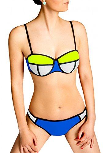 CASPAR Fashion -  Coordinato  - Donna weiss-neon gelb / blau