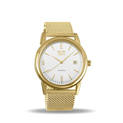 Davis 1903MB - Mens Automatic Watch Retro Yellow Gold Case Steel Dial Date Mesh Milanese Strap