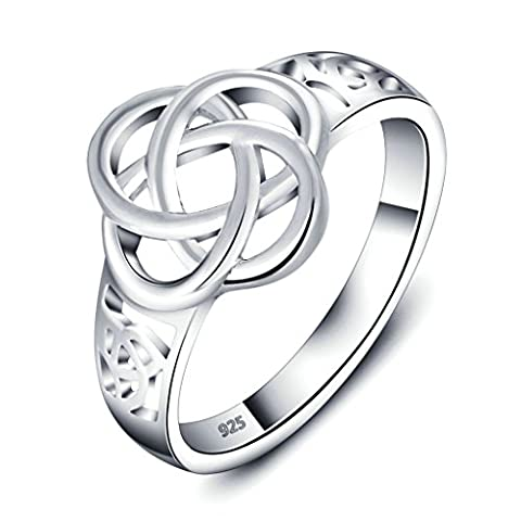 925 Sterling Silver Ring, Women's Wedding Bands Silver Hollow Out Celtic Knot Eternity Ring Size L 1/2 Epinki