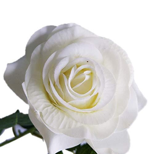 Luckiests panno artificiale white rose unico stelo del fiore di simulazione wedding bouquet accordi decor
