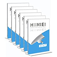 HIIMIEI 5x7 Table Display Stand,Acrylic Sign Holder,Perspex Freestanding Menu Holder,Upright Double Sided Poster Holder(6 Pack)