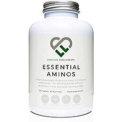 LLS aminoácidos esenciales (EAA)   300 pastillas / 60 porciones   5-10g por porción   8 aminoácidos esenciales absorbibles   Producido en el Reino Unido con certificación GMP