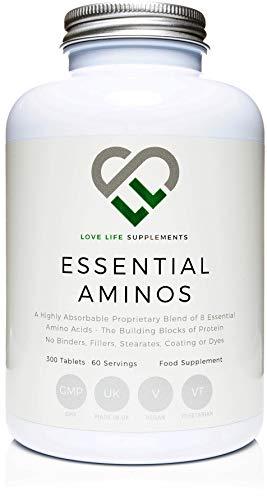LLS Essentiellen Aminosäuren (EAA) | 300 Tabletten / 60 Portionen | 5-10g pro Portion | 8 stark sauge essentielle Aminosäuren für Muskelreparatur und Wachstum | In der UK unter GMP Lizenz hergestellt