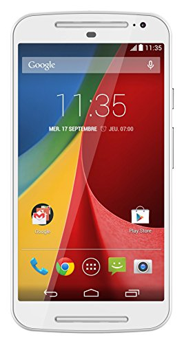 Motorola Moto G (2 Generazione) Smartphone, Display 5 pollici, Memoria 8 GB, Fotocamera 8 MP, Quad-Core 1.2GHz, 1GB RAM, Android 4.4, Bianco [Francia]