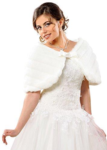 autstola Brautcape Pelzstola Braut Hochzeit Pelz Fell, dB22 weiß ()