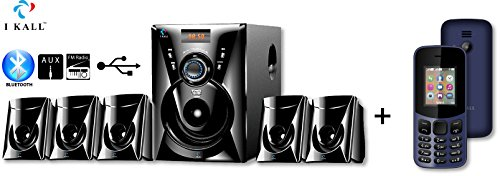 IKALL 5.1 Channel Bluetooth Multimedia Home Theatre System with I KALL K12 New Basic Mobile(Dark Blue)
