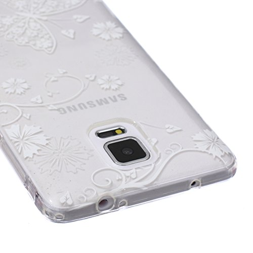 Samsung Note 4 Silicone Housse - Felfy Clair Ultra mince Slim Coque Pour Samsung Galaxy Note 4 papillon blanc Clear Crystal Gel Souple Soft Flexible TPU Silicone Etui Protective Bumper Cas Cover Trans Blanc Papillon